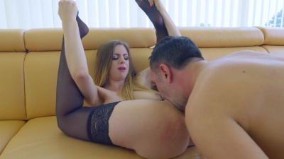 Balls deep anal with face cumshot for cum hungry Stella Cox