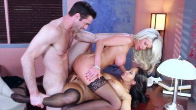 Busty Riley Jenner & Ava Addams share boss' cock & cum in the office