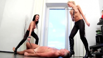 Puppy slave spanked & dick humiliated by two mistresses