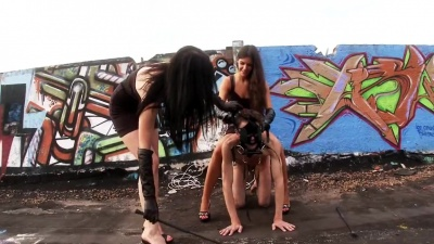 Two femdom goddess cruelly whip & humilliate gagged slave