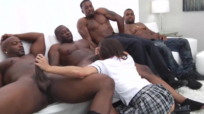 Keisha Grey taking five black monster dicks & getting dp