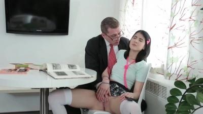 Schoolgirl sucked cock before old teacher fucked her hardcore