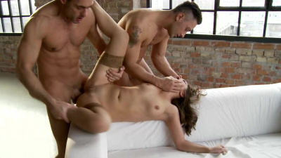 Brunette Dominica Phoenix was fucked in all holes by two stallions in double penetration
