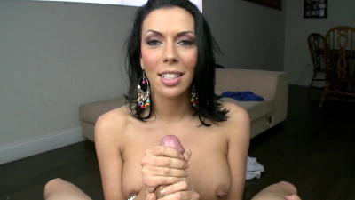 Lucky guy gets jerked by one of the sexiest girls Rachel Starr