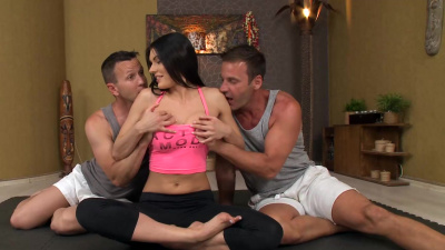 Dedicated yoga instructor Kitana Lure easily takes DP session