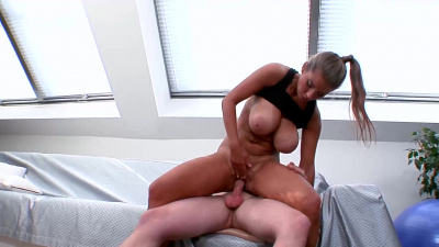 Busty eastern european Katerina letting cum spill out all over her spectacular breasts