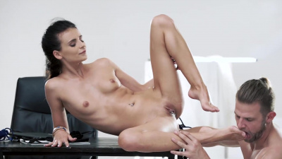 Skinny brunette Kate Rich foot fetish
