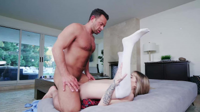 Bookish Ivy Winters shoves giant dick inside her tight mouth and cunt