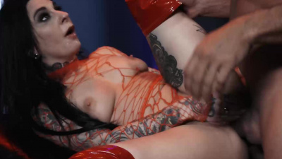 Sex slave in red leather thigh-high boots joanna Angel getting fucked by her master