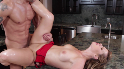Lucky guy spends the day fucking a hot blonde Tara Lynn Foxx in the ass on the kitchen counter