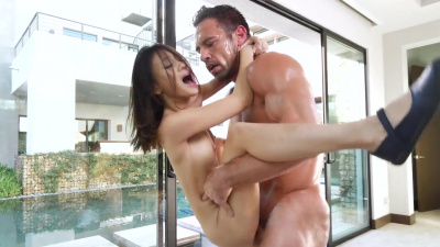 Petite asian Jasmine Grey has a multiple creamy climaxes during intense sex