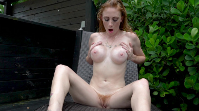 Ginger Babbii cums in a series of gasps and moans on camera