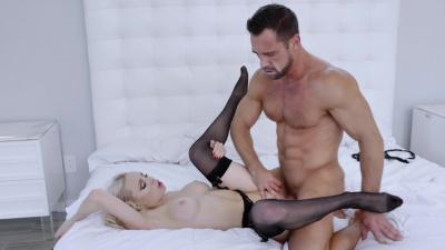 Stunning babe in black lingerie Natasha James fucking her boyfriend in several positions