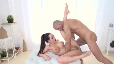 Sexy brunette Natali Ruby uses her feet, pussy and her ass to please a dick