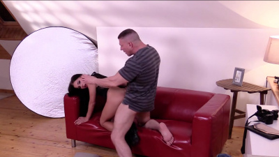 Hot brunette Eveline Dellai getting her pussy stretched during photoshoot