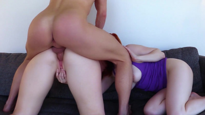 Redhead sweetheart Lady Fyre and sexy blonde Sophie Locke team up on stepdaddy