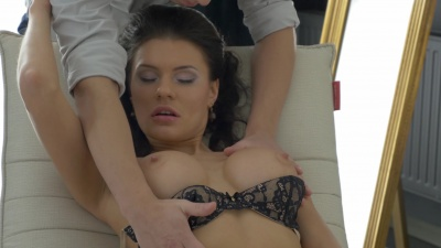 Teen Harper sucks and gets fucked in both holes over an armchair