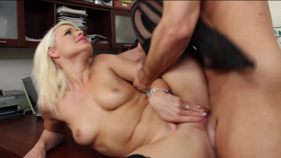 Anikka Albrite blackmails her boss into sex