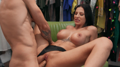 Brunette bombshell Azul Hermosa has sneaky sex in the dressing room