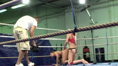 Sexy brunette slut Valentina Chevallier strapons Orsay in the ring