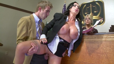 Prosecutor Nikki Benz tricking lawyer into a hardcore fuck in the courtroom