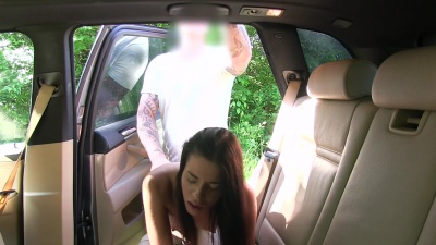 Eveline Dellai jerked and fucked the taxi driver for a pussy cumshot
